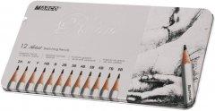 Набор карандашей графитных Marco Raffine 12 шт в металлическом пенале (7000-12TN)