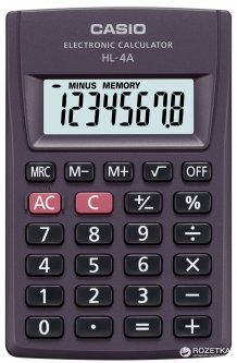Калькулятор Casio 8 разрядный 56х87х8.6 (HL-4A-S-EP)