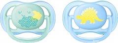 Пустышка Philips AVENT Ultra Air с декором 0-6 мес 2 шт для мальчиков (SCF344/20)