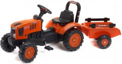 Детский трактор Falk Kubota на педалях с прицепом Оранжевый (2065AB) (3016202065126)