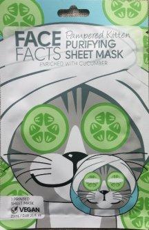Маска для лица Face Facts Kitty Cat Printed Cucumber Beauty Face Mask Sheet Pamper Girl Cute Kawaii с принтом забавного лица котенка 20 мл (5031413921069)
