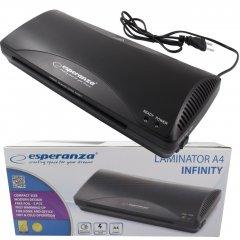 Ламинатор ESPERANZA INFINITY EFL001 A4 с защитой от перегрева + в комплекте горячая фольга 5 х А4 265 Вт Черный