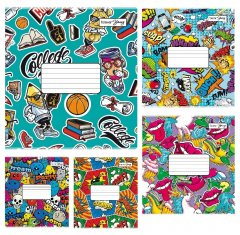 Набор тетрадей ученических 25 шт Тетрада Граффити А5 в клетку 12 листов (5 дизайнов) (51113)