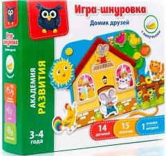 Игра-шнуровка с липучками Vladi Toys Домик друзей (Рус) (VT5303-01)