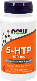 Аминокислота Now Foods 5-HTP (Гидрокситриптофан) 100 мг 60 гелевых капсул (733739001054)