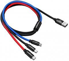 Кабель Baseus Three Primary Colors USB Type-C + Lightning + microUSB - USB 30 см 3.5 A (CAMLT-ASY01)