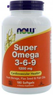 Жирные кислоты Now Foods Супер Омега 3-6-9 1200 мг 180 желатиновых капсул (733739018410)