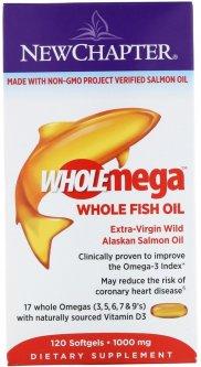 Жирные кислоты New Chapter Wholemega омега из рыбьего жира 1000 мг 120 желатиновых капсул (727783050038)