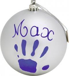 Набор для создания отпечатка ручки и ножки малыша Baby Art Рождественский шарик Серебристый (3220660238545) (34120155)