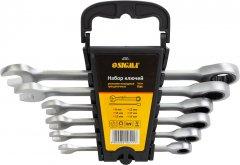 Набор ключей рожково-накидных трещеточных Sigma 6 шт 8-19 мм CrV Satine (6010511)