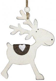 Елочная игрушка Jumi Деревянный олень 12 см Белая (322240)(5900410322240)
