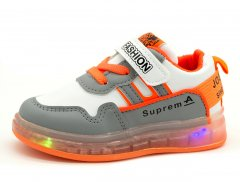 Светящиеся кроссовки BBT Kids Серо-оранжевый (H5298 grey-orange 23)