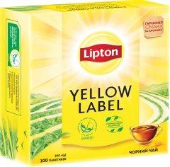 Чай черный пакетированный Lipton Yellow Label 100 пакетиков (4823084200014)