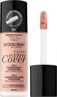 Тональная основа Deborah Extra Cover 24ore 2 in 1 Foundation & Concealer SPF20 01 30 мл (8009518333923)
