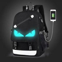 Рюкзак с USB с глазками светящийся в темноте с кодовым замком