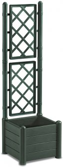 Вазон квадратный Stefanplast Italia уличный с декором 43 х 43 х 142 см Зеленый (80028)