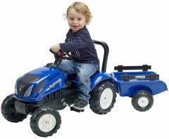Детский трактор Falk New Holland 3080AB на педалях с прицепом Синий (3080AB) (3016203080128)