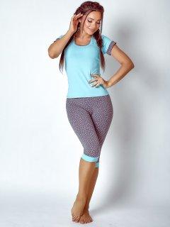 Комплект (футболка+бриджи) BARWA garments 0127/124 S Мятный с серым (2111271241134)