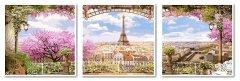 Картина модульная по номерам Babylon Весенний Париж 50*150 см 3 модуля (в коробке) арт.VPT006