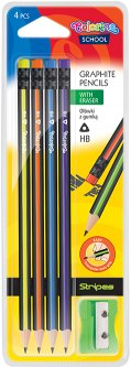 Набор карандашей чернографитных c точилкой Colorino Полоски HB корпус дерерво c ластиком HB 4 шт (39927PTR)