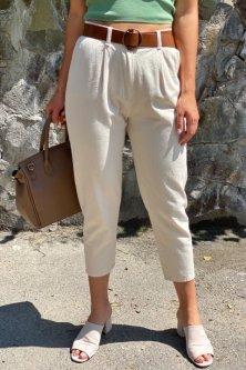 Короткі джинси з поясом Lurex молочний (S)
