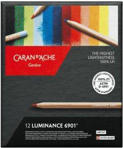 Карандаши цветные Caran d'Ache Luminance 6901 картонный бокс 12 цветов (7630002335621)