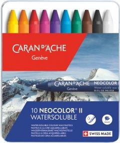 Пастель восковая Water-soluble Caran d'Ache Neocolor II металлический бокс 10 цветов (7610186243103)
