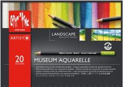 Карандаши цветные акварельные Caran d'Ache Museum Aquarelle Landscape картонный бокс 20 цветов (7630002322034)