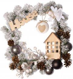 """Рождественский венок Новогодько (YES! Fun) с декором """"House"""" d-35 см (904387)"""