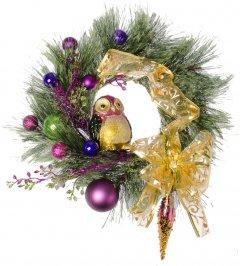 """Рождественский венок Новогодько (YES! Fun) с декором """"Лесная сова"""" d-15 см (904390)"""