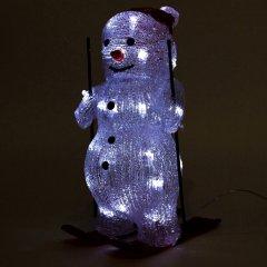 Новогодняя светодиодная фигурка Devilon Снеговик на лыжах 20х16х28.5 см Белая (140403_5102682140403)