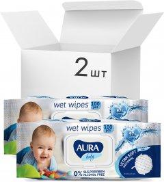 Упаковка детских влажных салфеток Aura Baby 97% воды 2 пачки по 100 шт (4751023293110)