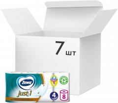 Упаковка туалетной бумаги Zewa Just 1 4 слоя 7 шт по 8 рулонов (7322541045429)