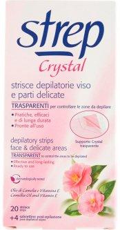 Восковые полоски для депиляции лица и линии бикини Strep Crystal Масло камелии и витамин Е 20 шт + 4 салфетки (8002340009332)