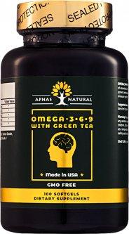 Жирные кислоты Apnas Natural Омега 3-6-9 С зеленым чаем 100 капсул (603051082195)
