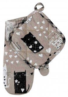 Набор рукавичка+прихватка Прованс Котики (4823093428454)