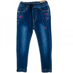 Джинсы эластичные для девочки GRACЕ G85769 128 см темно-синий джинс (465263)