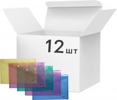 Набор папок 4Office на кнопке 12 шт А4 120 мкм Прозрачное ассорти (4-208/4820071010236)