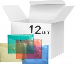 Набор папок 4Office на кнопке 12 шт А5 120 мкм Прозрачное ассорти (4-205/4820071010106)