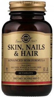 Натуральная добавка Solgar Skin, Nails & Hair Улучшенная формула с МСМ для кожи, ногтей и волос 60 таблеток (033984017368)