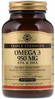 Жирные кислоты Solgar Triple Strength Омега-3, ЭПК и ДГК 950 мг 50 капсул (033984020573)