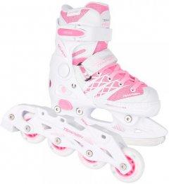 Роликовые коньки раздвижные Tempish Clips Girl Duo 37-40 Бело-розовые (13000008254/37-40) (8592678105597)