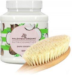 Набор для тела Maldives Dreams Натуральное кокосовое масло 500 г + Большая щетка для сухого массажа из листьев агавы (ROZ6400049390)