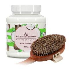 Набор для тела Maldives Dreams Натуральное кокосовое масло 500 г + Премиальная щетка для сухого массажа из микса конского волоса и листьев агавы (ROZ6400049391)
