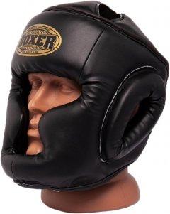 Шлем тренировочный каратэ Boxer Элит L 1-1.2 мм кожа Черный (2033-01BLK)
