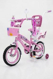 """Велосипед для дівчаток RUEDA Flower 12-03B рожевий 12"""" з кошиком та батьківською ручкою"""