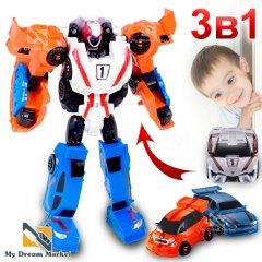 Іграшка робот трансформер mini Champion 3в1 Тобот для хлопчиків з рухомими деталями - хороша і якісна з 3х машинок для дітей – Різнобарвний