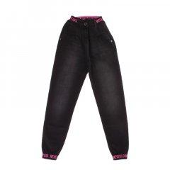 Штани джинсові для дівчинки A-YUGI 9254 146 см чорний/неон рожевий (476559)