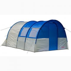 Четырехместная двухслойная, двухкомнатная палатка Coleman 3017 синий с серым