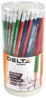 Набор карандашей графитных Delta НВ с ластиком 3 цвета корпуса тубус 100 шт (D2101)